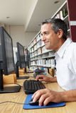 Man working on computer in library Royalty Free Stock Image