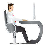 Man working at computer. Vector. Office worker in white shirt and red tie sitting in comfortable armchair at apple form table and working on monoblock desktop royalty free illustration