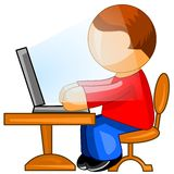 Man working on computer. Web icon. Royalty Free Stock Photo