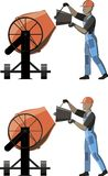 Man working with concrete mixer royalty free illustration