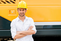 Man working in a construction Stock Photo