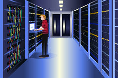 Man working in a data center. A vector illustration of man working in a data center Stock Image