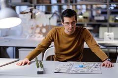 Man working in design and engineering architecture office.  Stock Image
