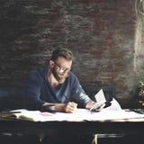 Man Working Determine Workspace Lifestyle Concept Stock Photo