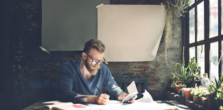 Man Working Determine Workspace Lifestyle Concept Royalty Free Stock Photos