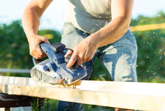 Man working Electrical plane Royalty Free Stock Images