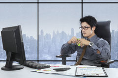 Man working while enjoy coffee Stock Images