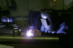 Man working in factory Stock Photo