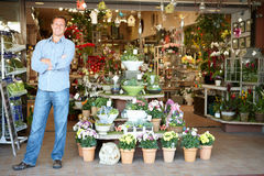 Man working in florist Royalty Free Stock Images