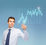 Man working with forex chart on virtual screen Royalty Free Stock Photos