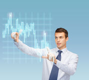 Man working with forex chart on virtual screen Stock Image