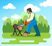 A man working in the garden, sawing logs chainsaw. stock illustration