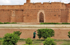Man working in the gardens of the El Badi Palace, Marrakech, Morocco Stock Photos