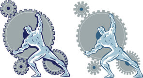 Man working gears. Royalty Free Stock Photography