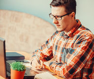 Man working with graphics tablet Stock Photography