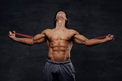 A man exercising with trx straps. A man working hard with fitness trx straps in a studio on grey background Stock Photography