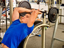 Man working his arms and chest at gym Stock Photography
