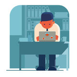 Man working on his own laptop. Royalty Free Stock Photo