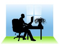 Man Working From Home. An illustration featuring a man sitting in a room at a desk with a laptop to represent working from home