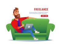 Man working at home on the couch. Freelancer sitting on sofa with a laptop, working remotely via the internet. Work at Stock Photos