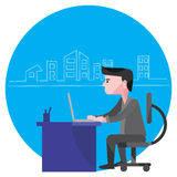 Man Working From Home. Freelance worker stock photography