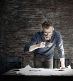Man Working Home Office Start up Ideas Concept Stock Images