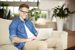 Man working at home Stock Photography