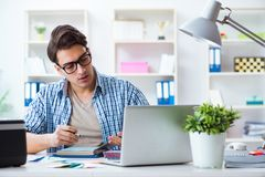 The man working from home in teleworking concept stock images