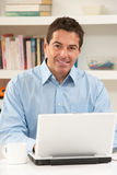 Man Working From Home Using Laptop Royalty Free Stock Photos