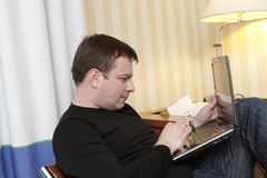 Man working in hotel Stock Image