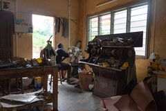 Shoemaker workshop, Benin, Africa royalty free stock images