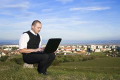 Man working with laptop Royalty Free Stock Photography