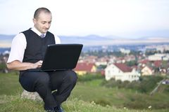 Man working with laptop Stock Images