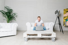 Man is working on laptop Royalty Free Stock Image