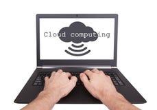 Man working on laptop, cloud computing Royalty Free Stock Photos