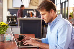 Man working on laptop in a coffee shop Stock Image