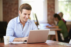 Man Working At Laptop In Contemporary Office Royalty Free Stock Photos