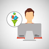 Man working laptop data analytics Royalty Free Stock Image