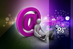 Man working laptop with e-mail symbol Stock Image