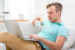Man working with laptop Royalty Free Stock Image