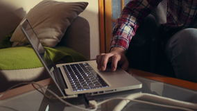 Man working with laptop at the home stock footage
