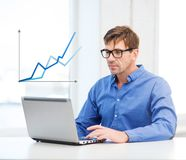 Man working with laptop at home Royalty Free Stock Photo