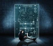 Man working on laptop stock image