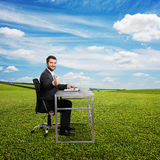 Man working with laptop at outdoor Royalty Free Stock Photos