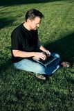 Man Working with Laptop in Park Stock Photos