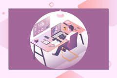 A man working on the laptop. Workspace concept with devices.Landing page template. 3d vector isometric illustration vector illustration