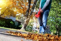 Man working with leaf blower: the leaves are being swirled up and down on a sunny day. Man working with leaf blower: the leaves are being swirled up and down on royalty free stock image