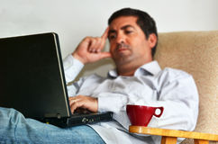 Man Working or learning from home Royalty Free Stock Photo