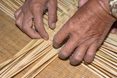 The man working for make bamboo woven close up view. The man working for make bamboo woven with hand close up Royalty Free Stock Photo