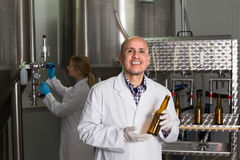 Man working on modern brewery Royalty Free Stock Photos